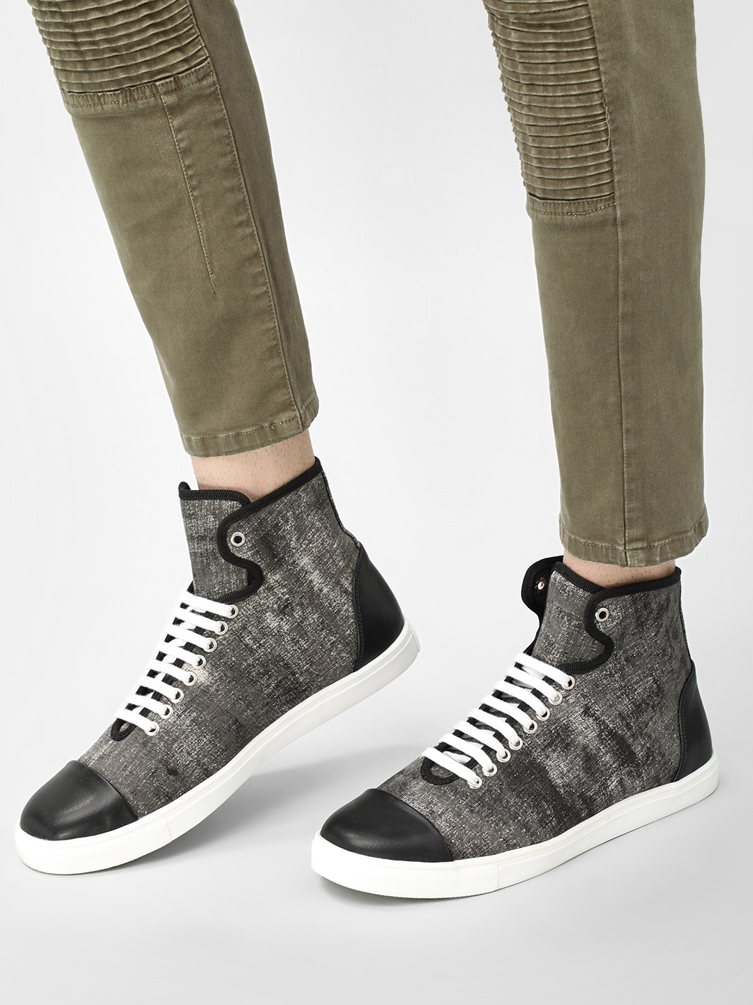 KOOVS Black Lace-Up High Top Sneakers 1