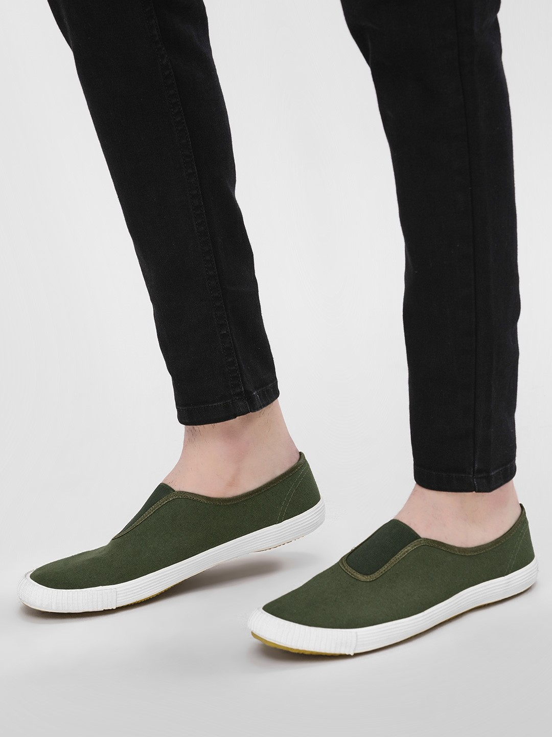 KOOVS Olive Slip-On Gusset Plimsoll Shoes 1