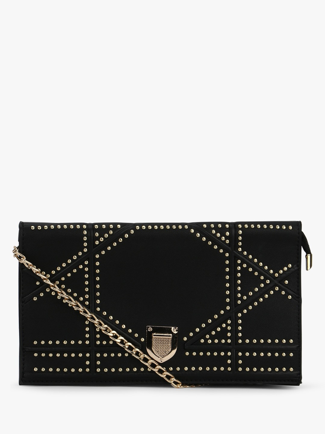 Origami Lily Black Studded Clutch Bag 1