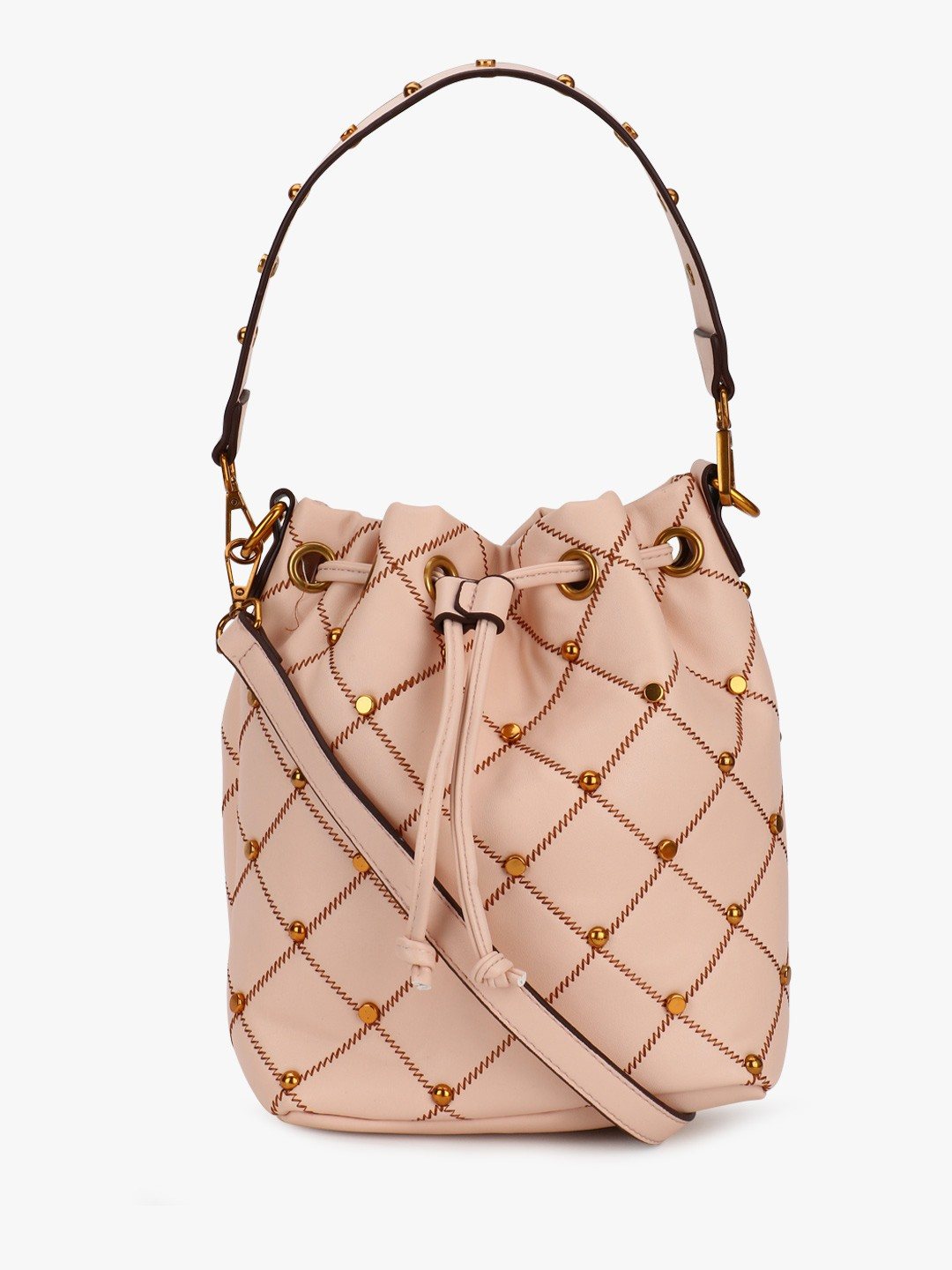 Origami Lily Nude Quilted Studded Bucket Bag 1