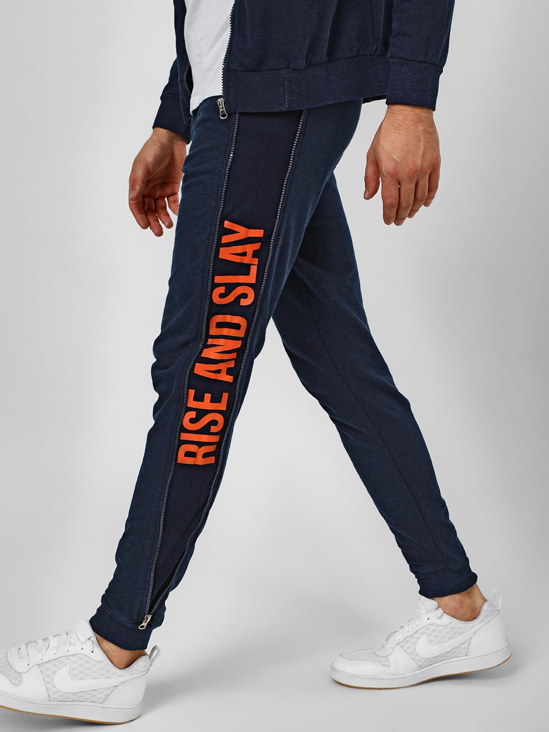 Garcon Blue Light Washed Slogan Joggers 1