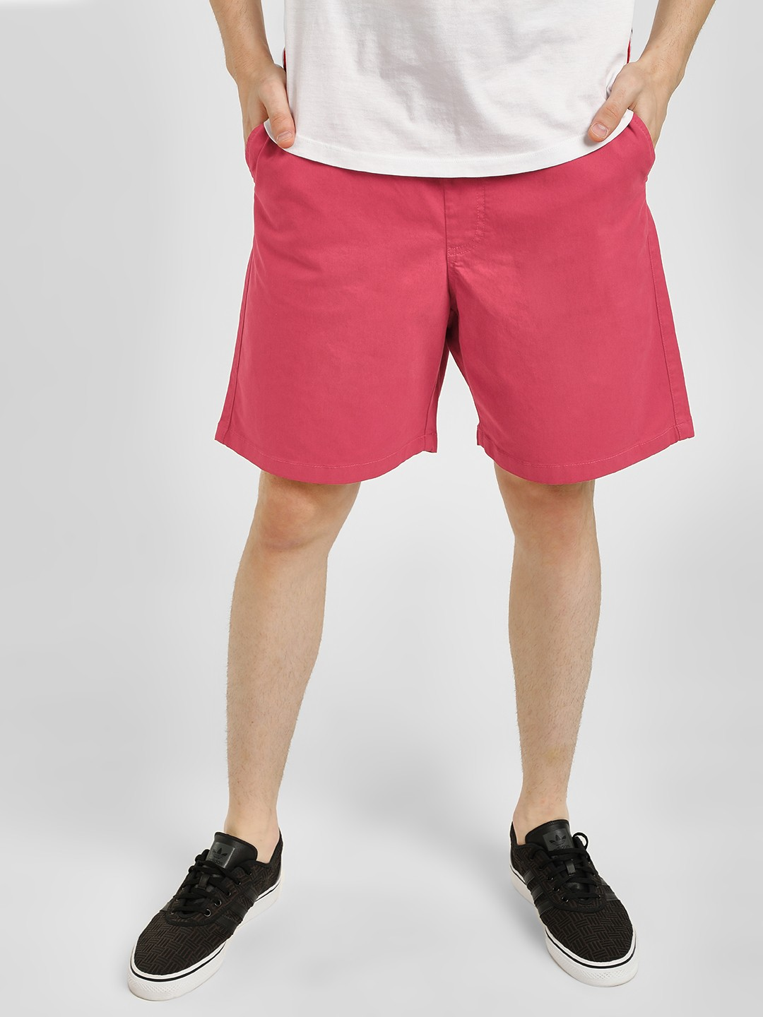 KOOVS Red Washed Casual Shorts 1