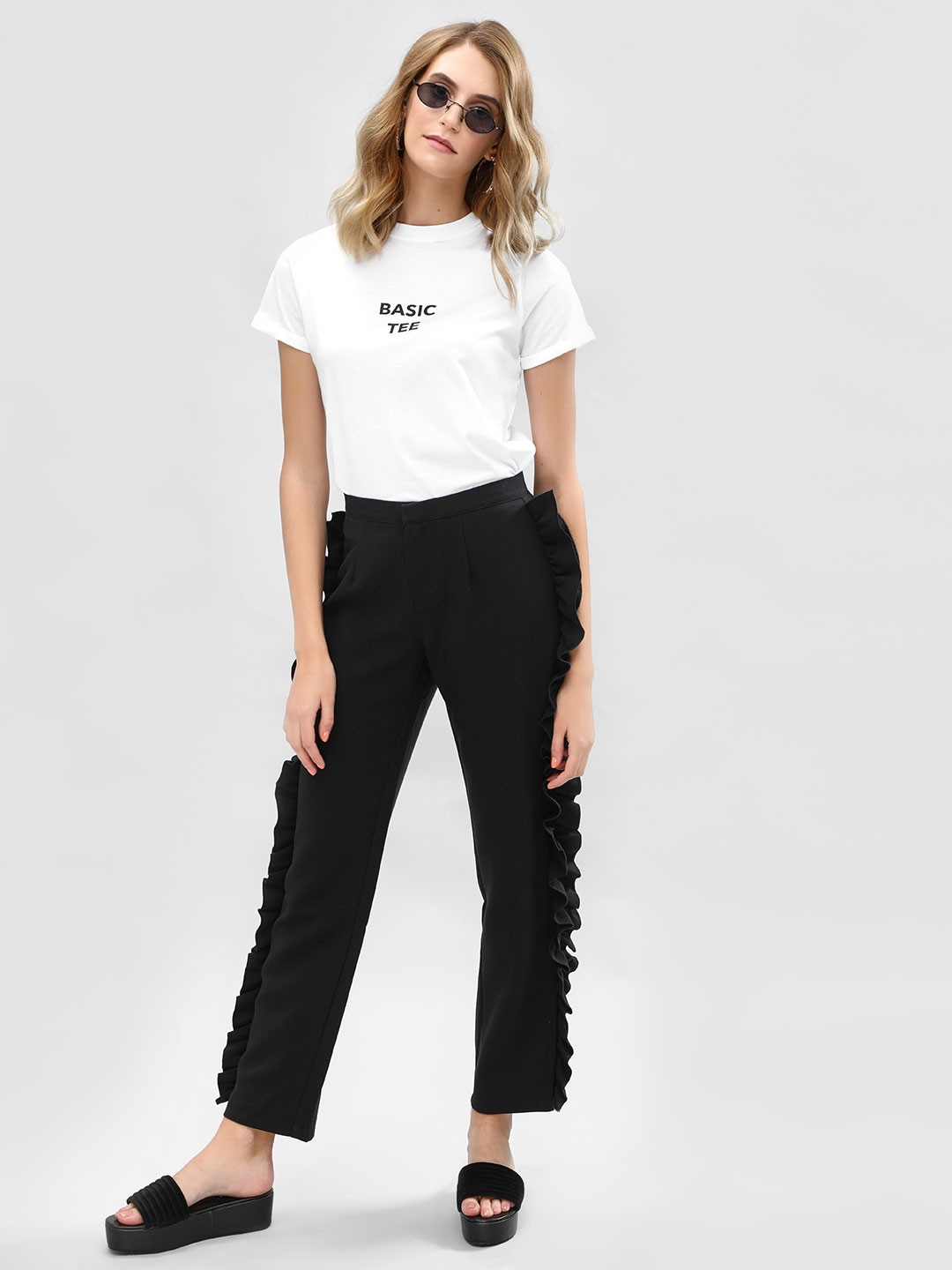 Daisy Street Black Ruffled Side Formal Trousers 1