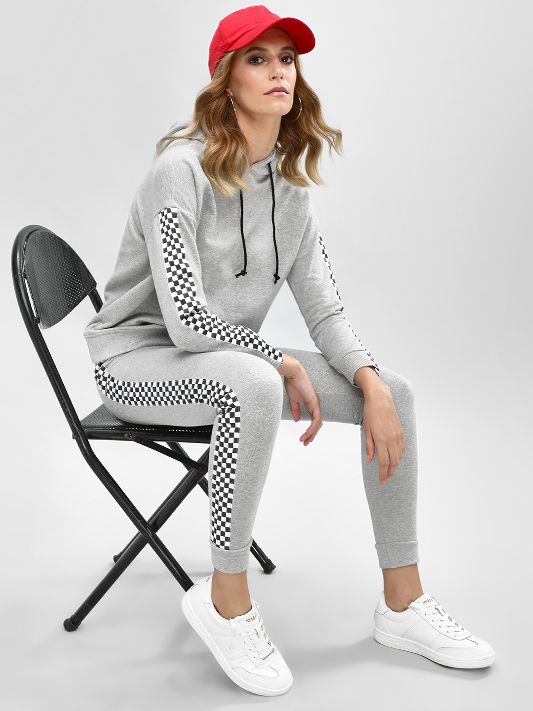 Daisy Street Grey Checkered Side Tape Joggers 1