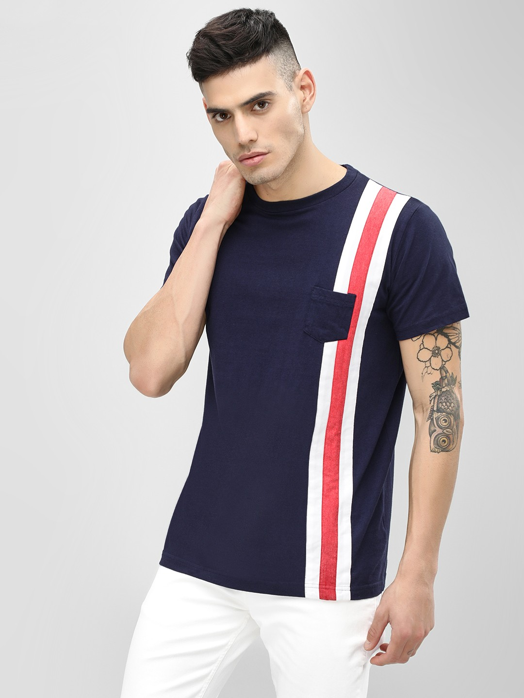 Spring Break Navy Crew Neck Contrast Stripe T-Shirt 1