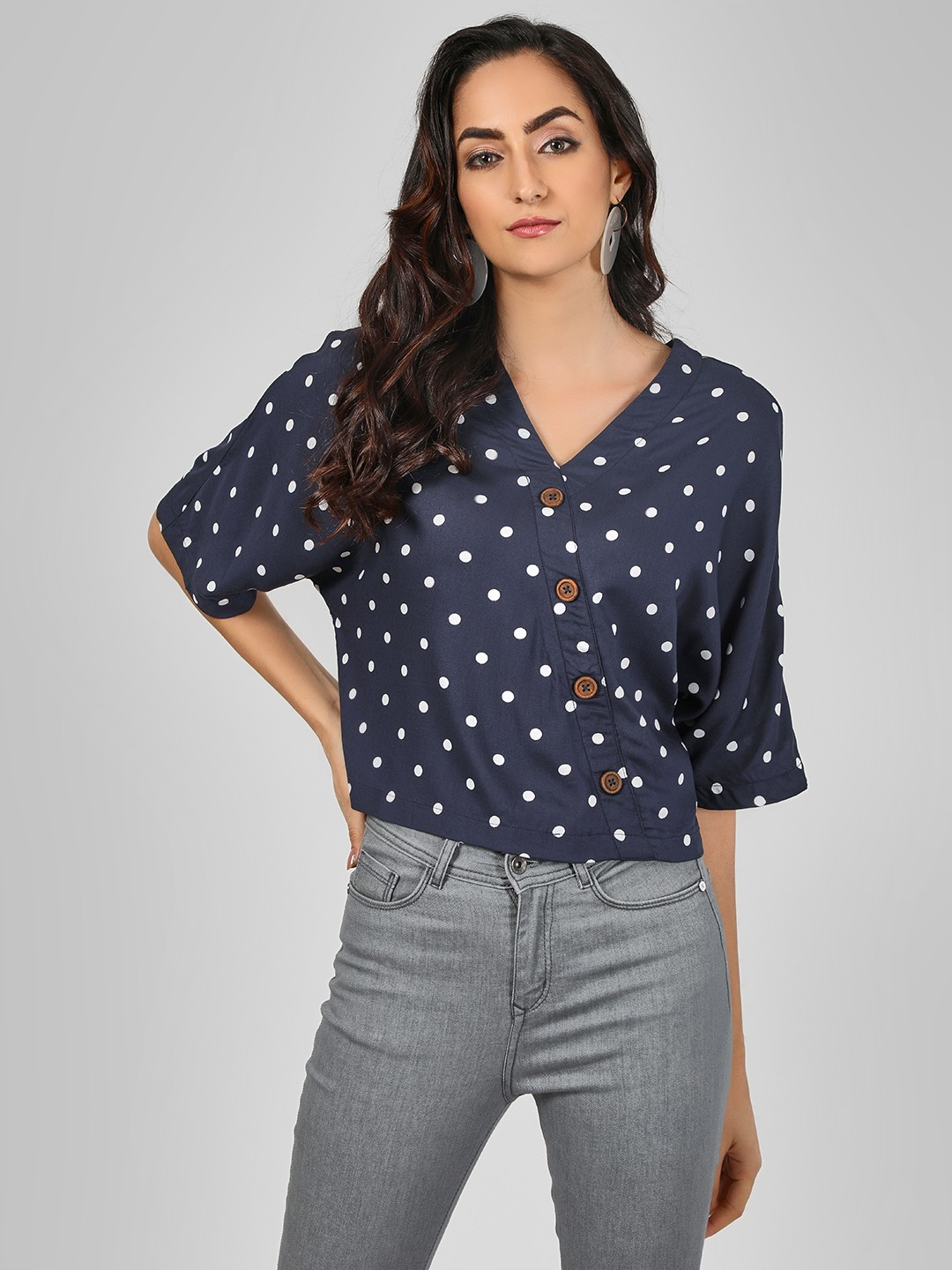 KOOVS Multi V Neck Polka Shirt 1