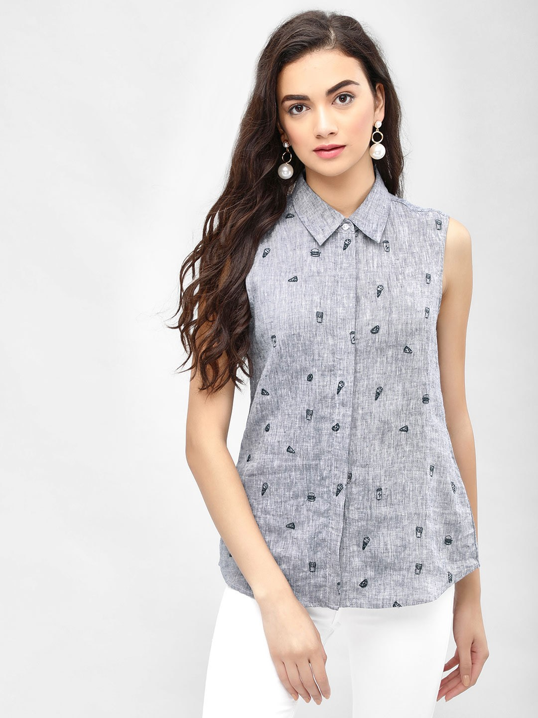 PostFold Blue Embroidered Sleeveless Shirt 1