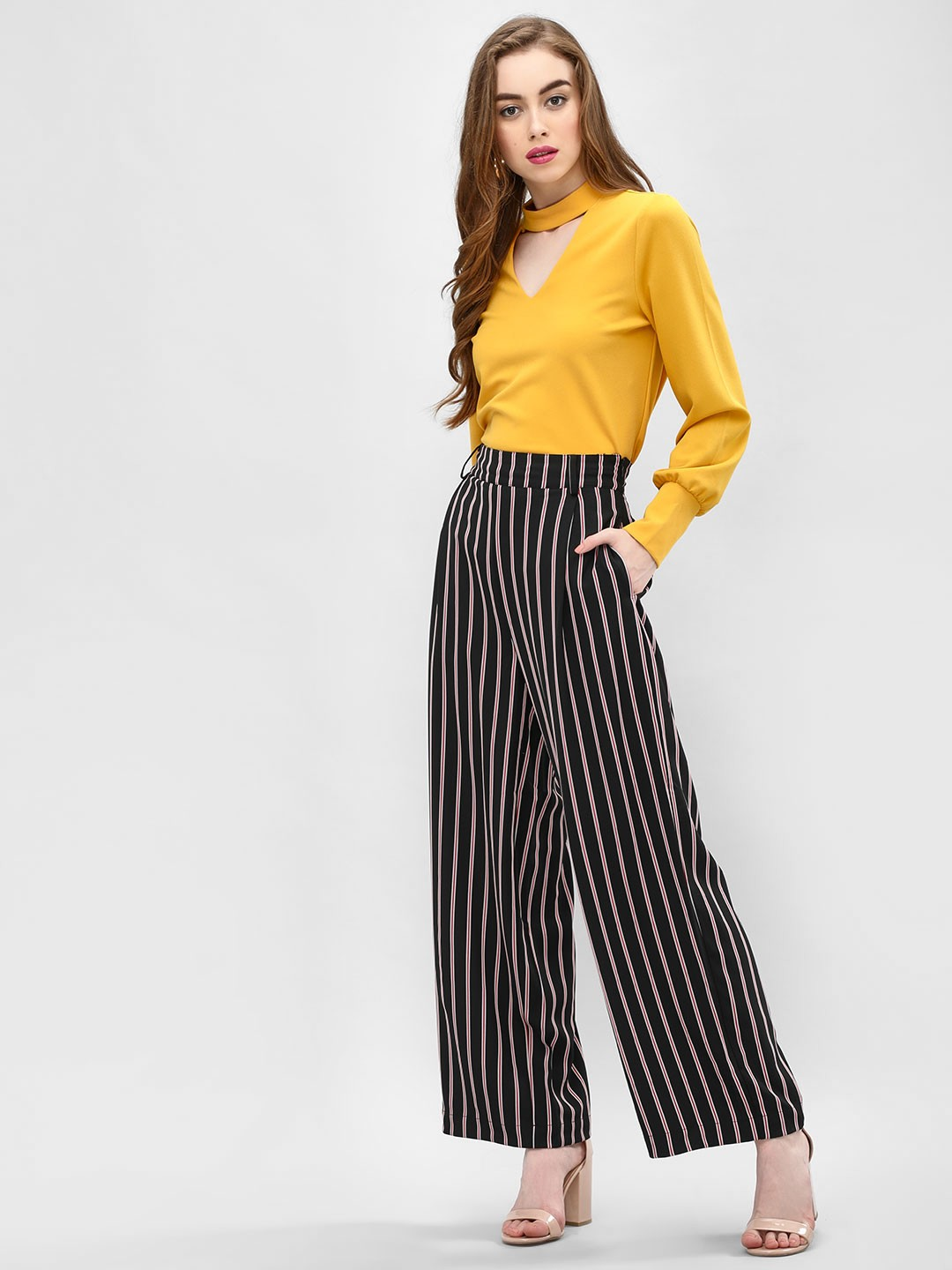 Cover Story Multi Striped Wide Leg Trousers 1