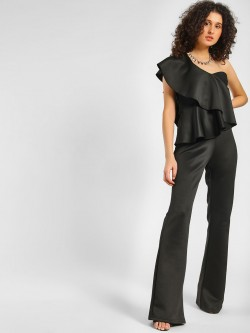 Rare London Wide Leg Ruffled Jumpsuit