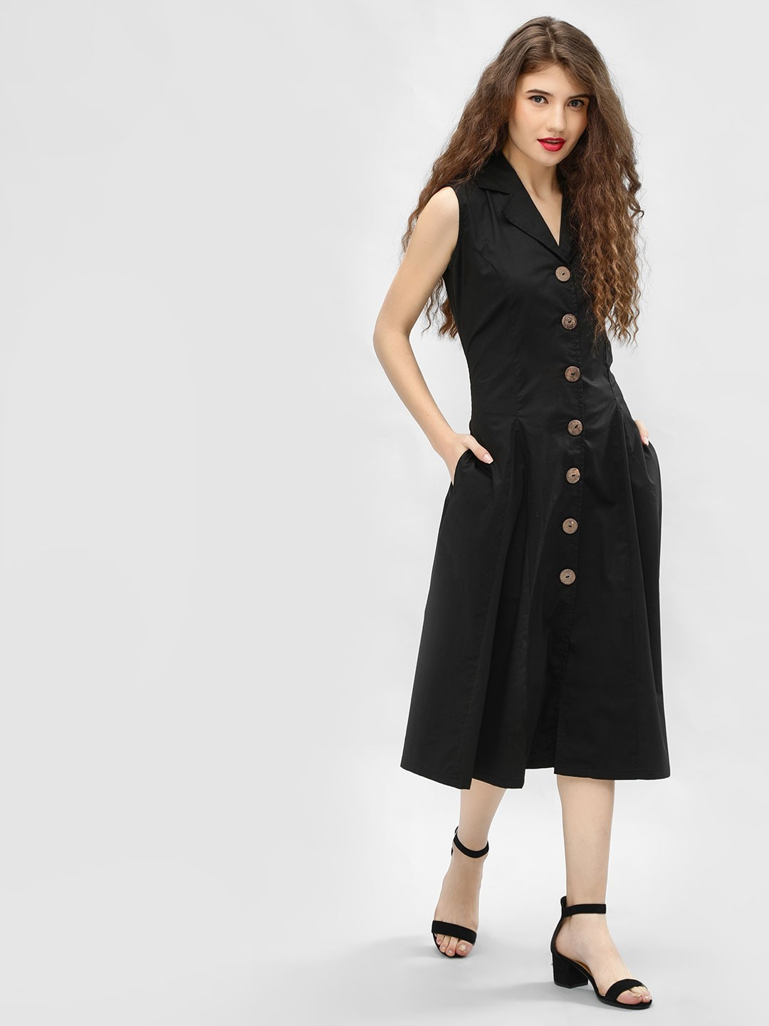 Ri-Dress Black Button Through Collared Midi Dress 1