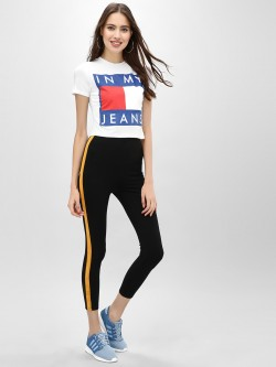 KOOVS Contrast Tape Cropped Leggings