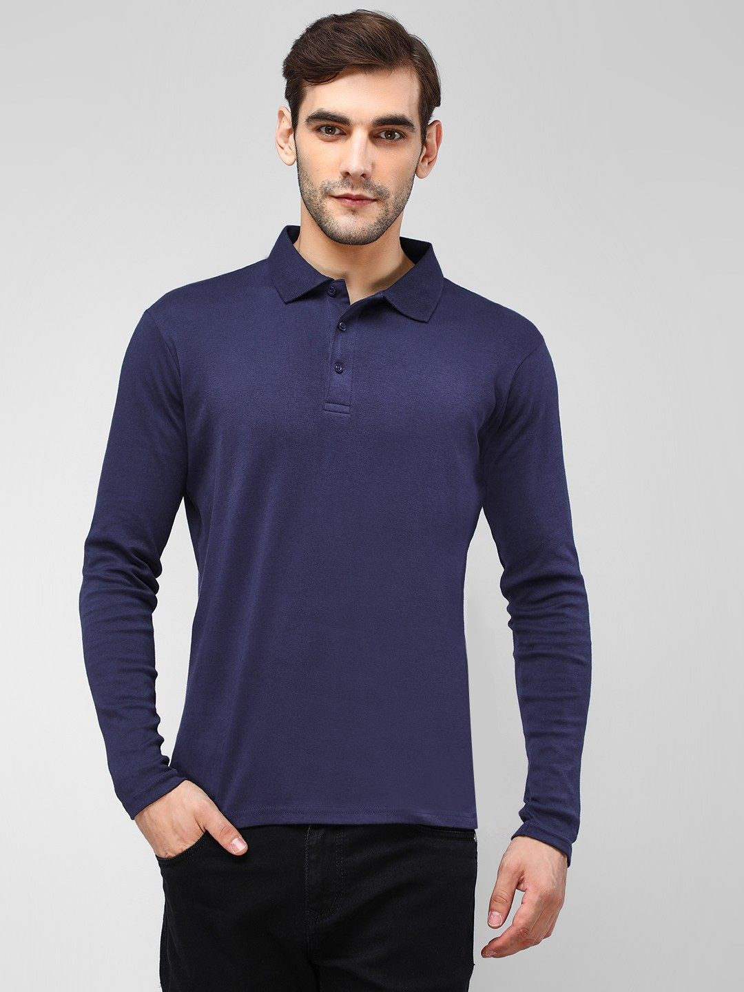 Blue Saint Blue Long Sleeve Polo Shirt 1