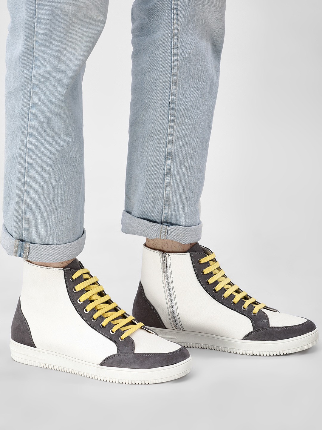 Griffin White Multi Panel Hi-Top Sneakers 1