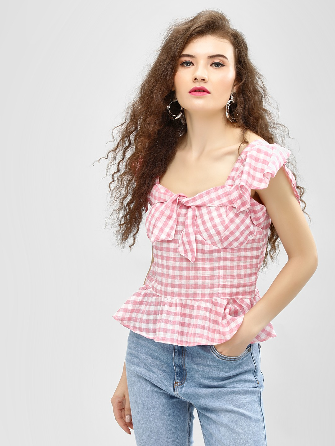 Blue Sequin Pink Tie Front Gingham Peplum Blouse 1