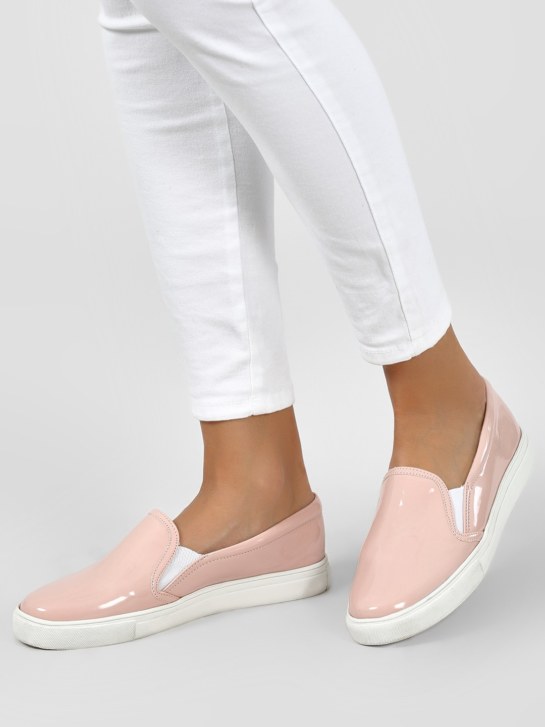 KOOVS Pink Patent Finish Slip-On Sneakers 1