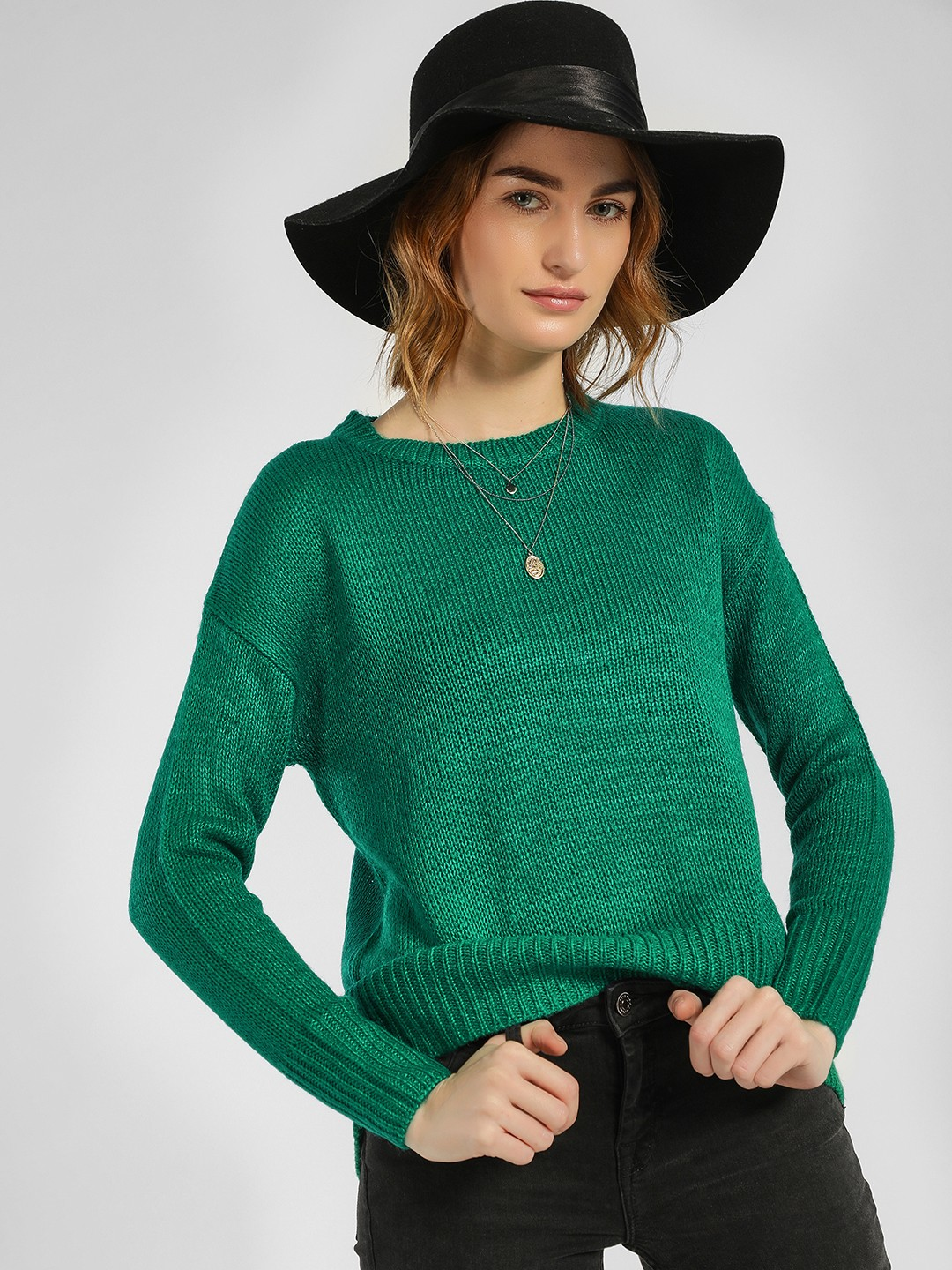 New Look Green High Low Ribbed Pullover 1