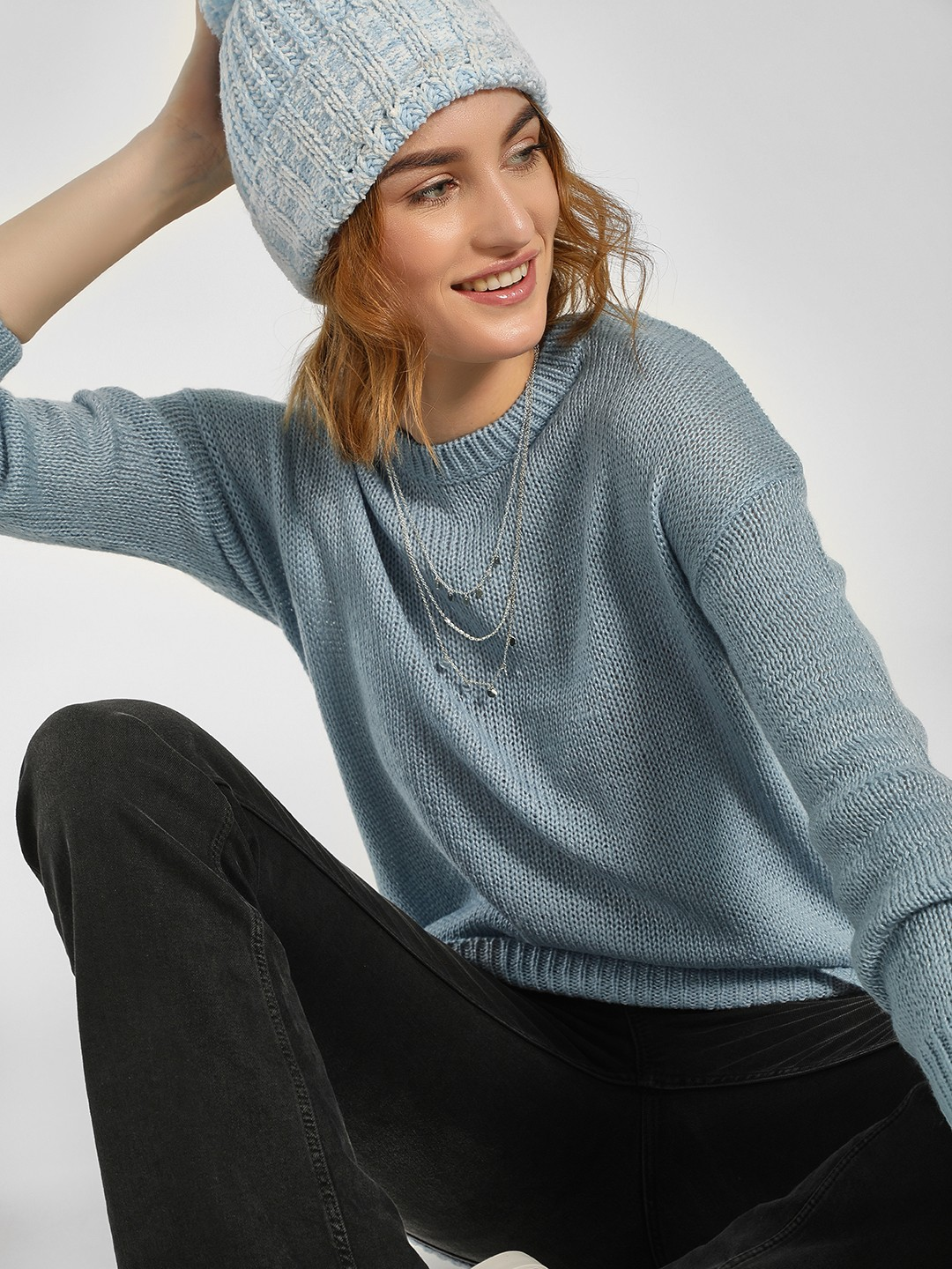 New Look Light Blue High Low Ribbed Pullover 1