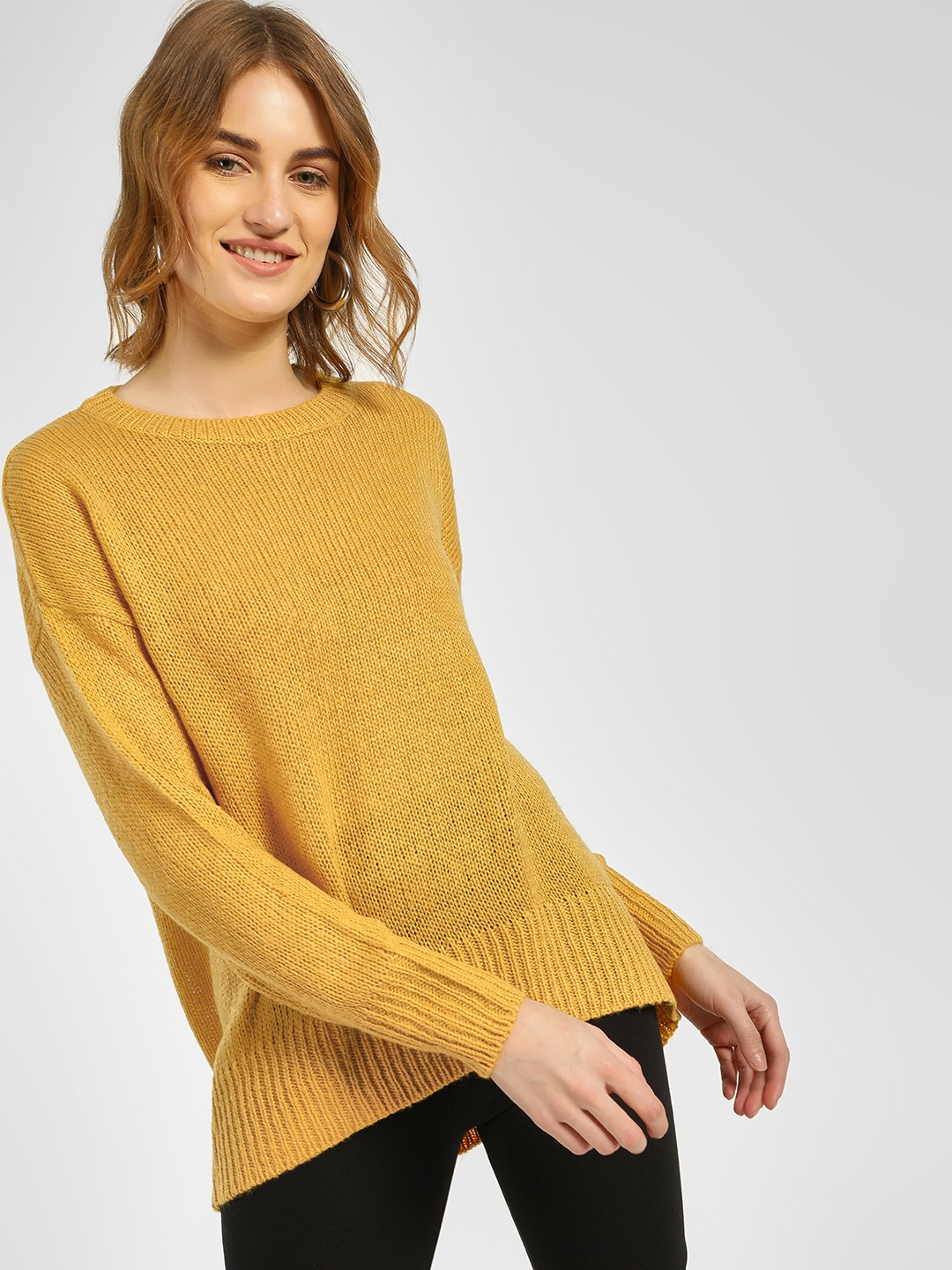 New Look Mustard High Low Ribbed Pullover 1