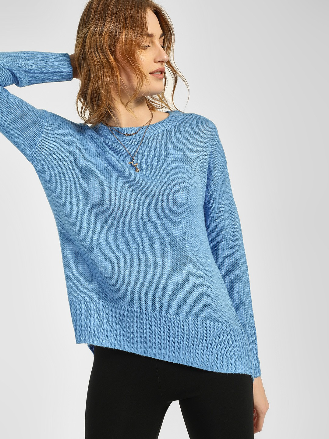 New Look Blue High Low Ribbed Pullover 1