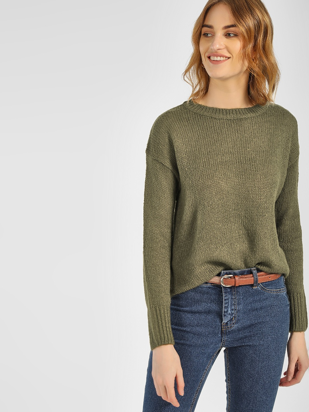 New Look Khaki High Low Ribbed Pullover 1