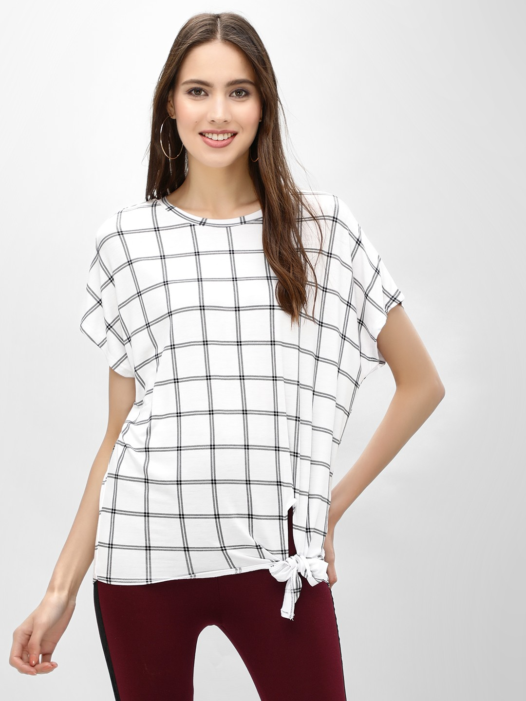 New Look WHITE PATTERN Grid Check Tie Side T-Shirt 1