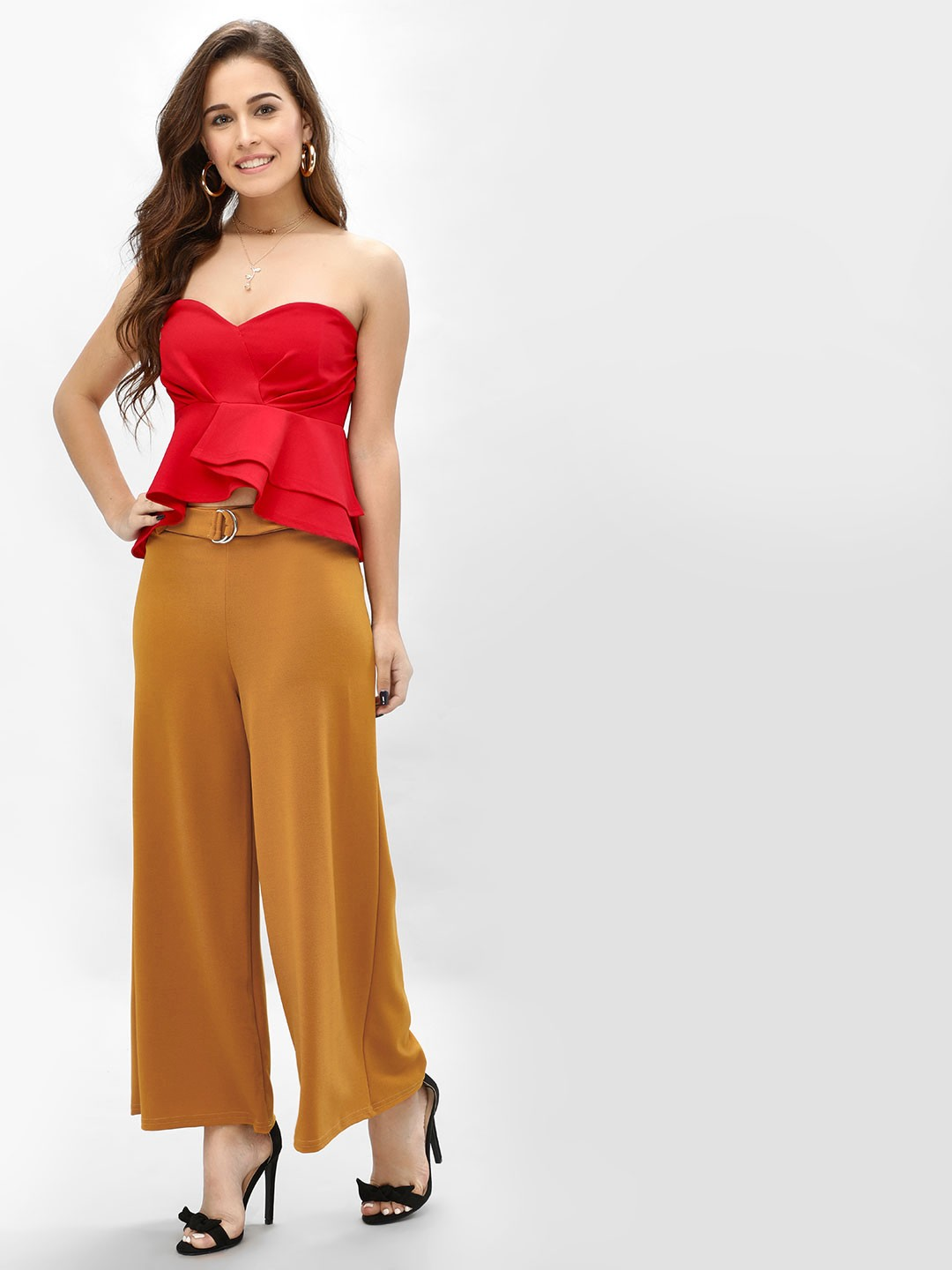 New Look mid yellow D-Ring Belted Flared Trousers 1