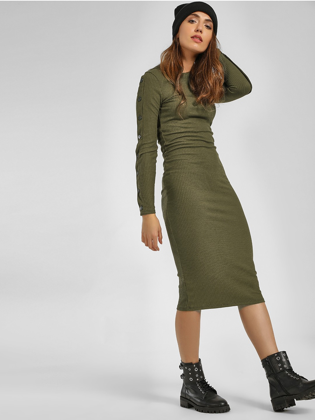 New Look dark khaki Buttoned Sleeve Ribbed Bodycon Dress 1
