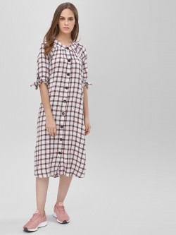 KOOVS Balloon Sleeve Shirt Dress