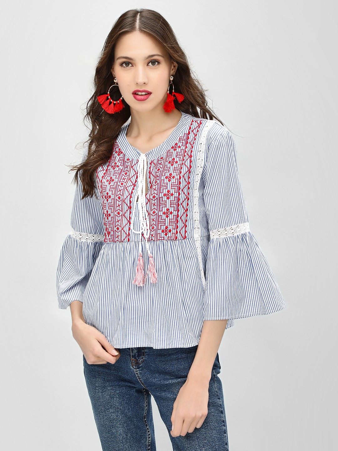 Sbuys Blue Striped Embroidery Flared Top 1