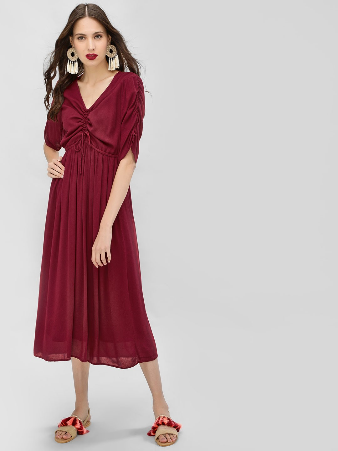 Sbuys Maroon Ruched Front Midi Dress 1
