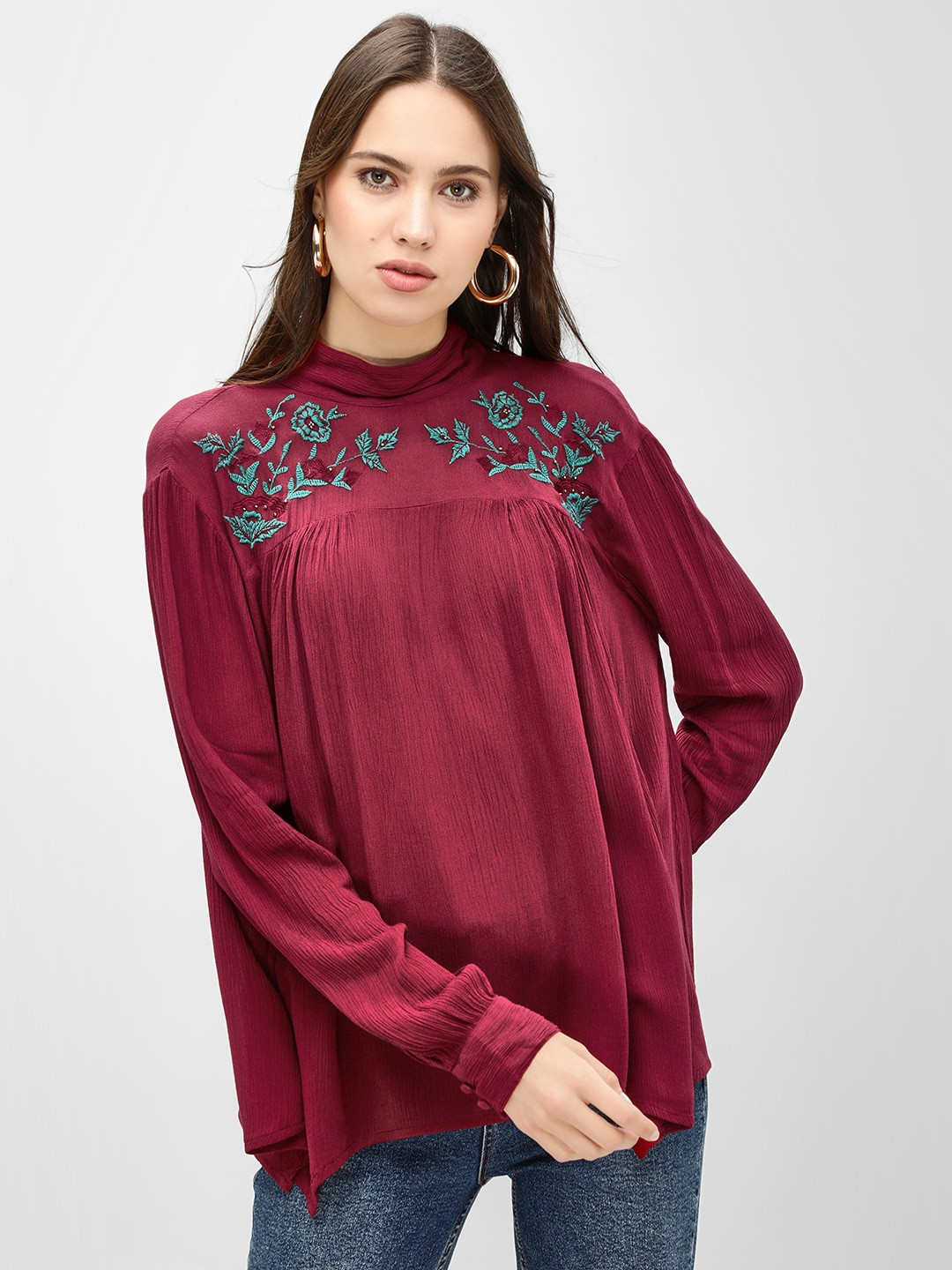Sbuys Deep Red Embroidered High Neck Longline Blouse 1