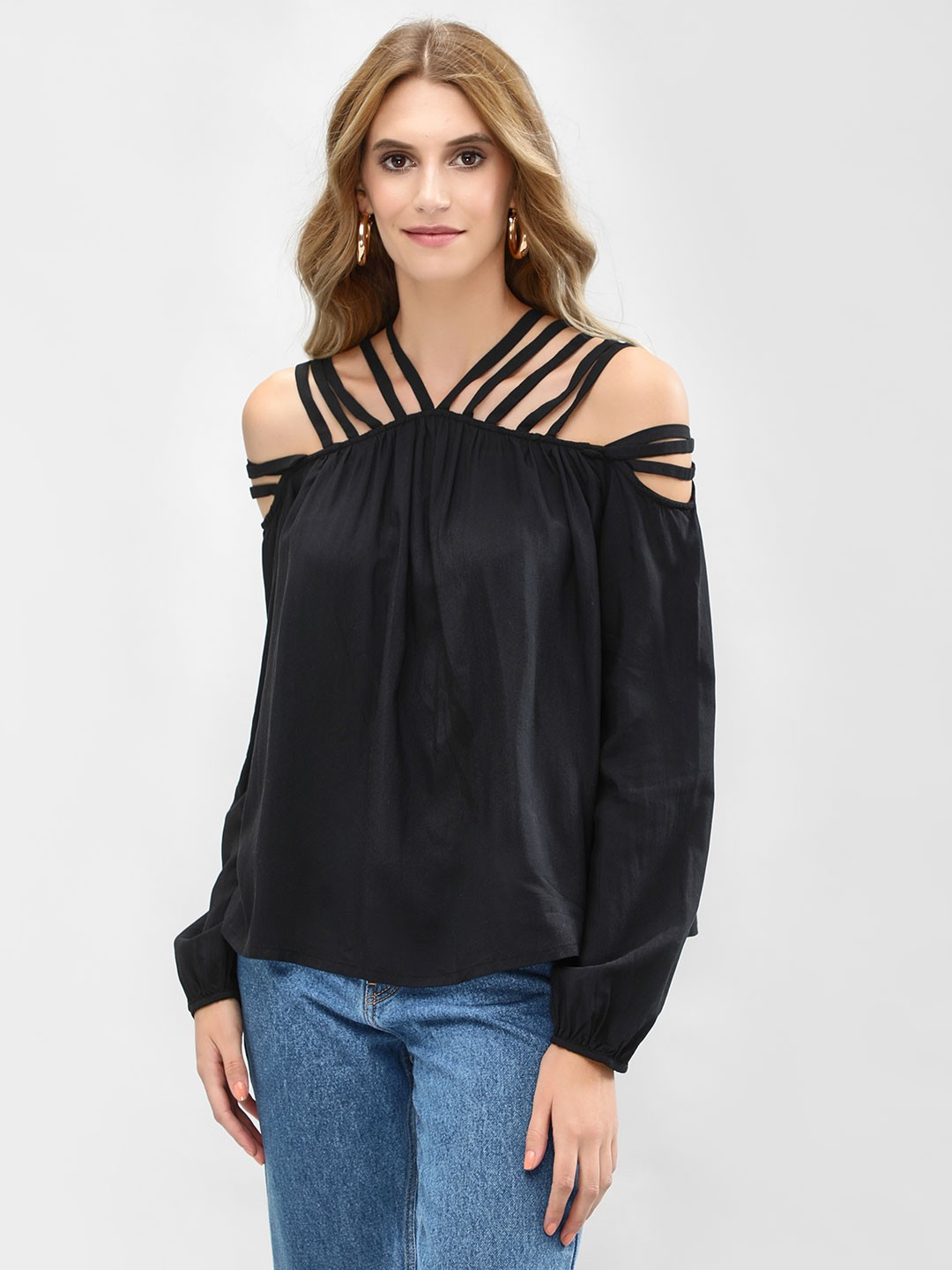 Sbuys Black Multi-Strap Off-Shoulder Top 1