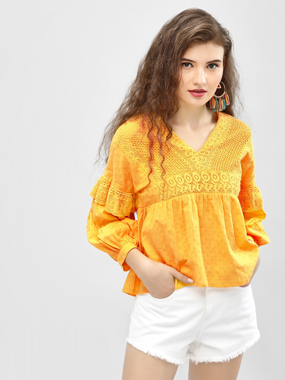 Sbuys Yellow Lace Yoke Dobby Flared Blouse 1