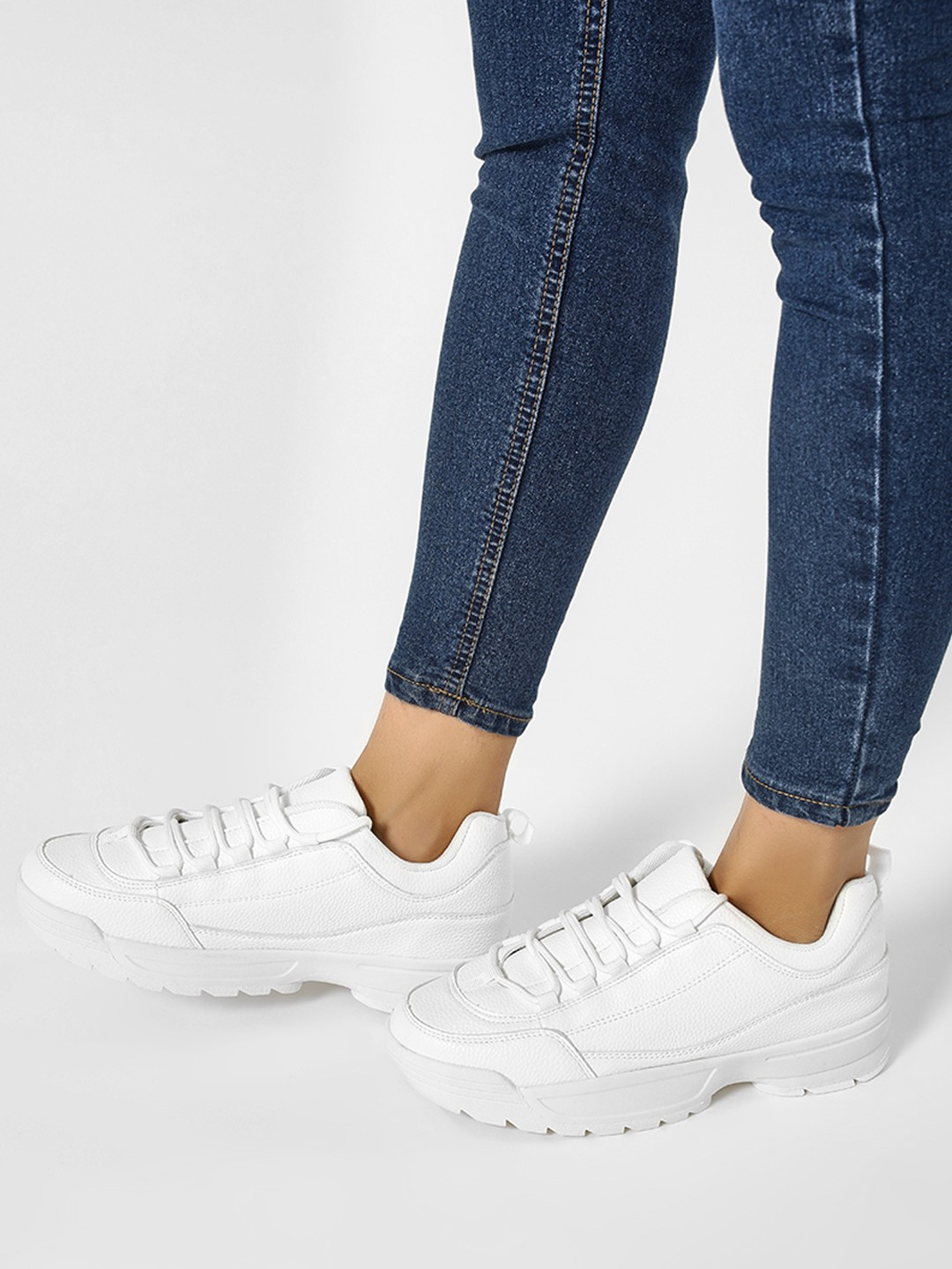 Truffle Collection White Chunky Sole Basic Trainers 1