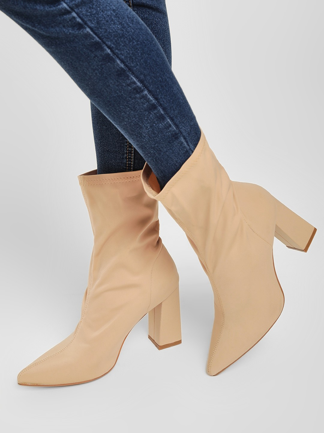 Truffle Collection Nude Sock Style Block Heeled Boots 1