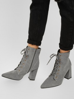Truffle Collection Lace Tie Suede Finish Boots