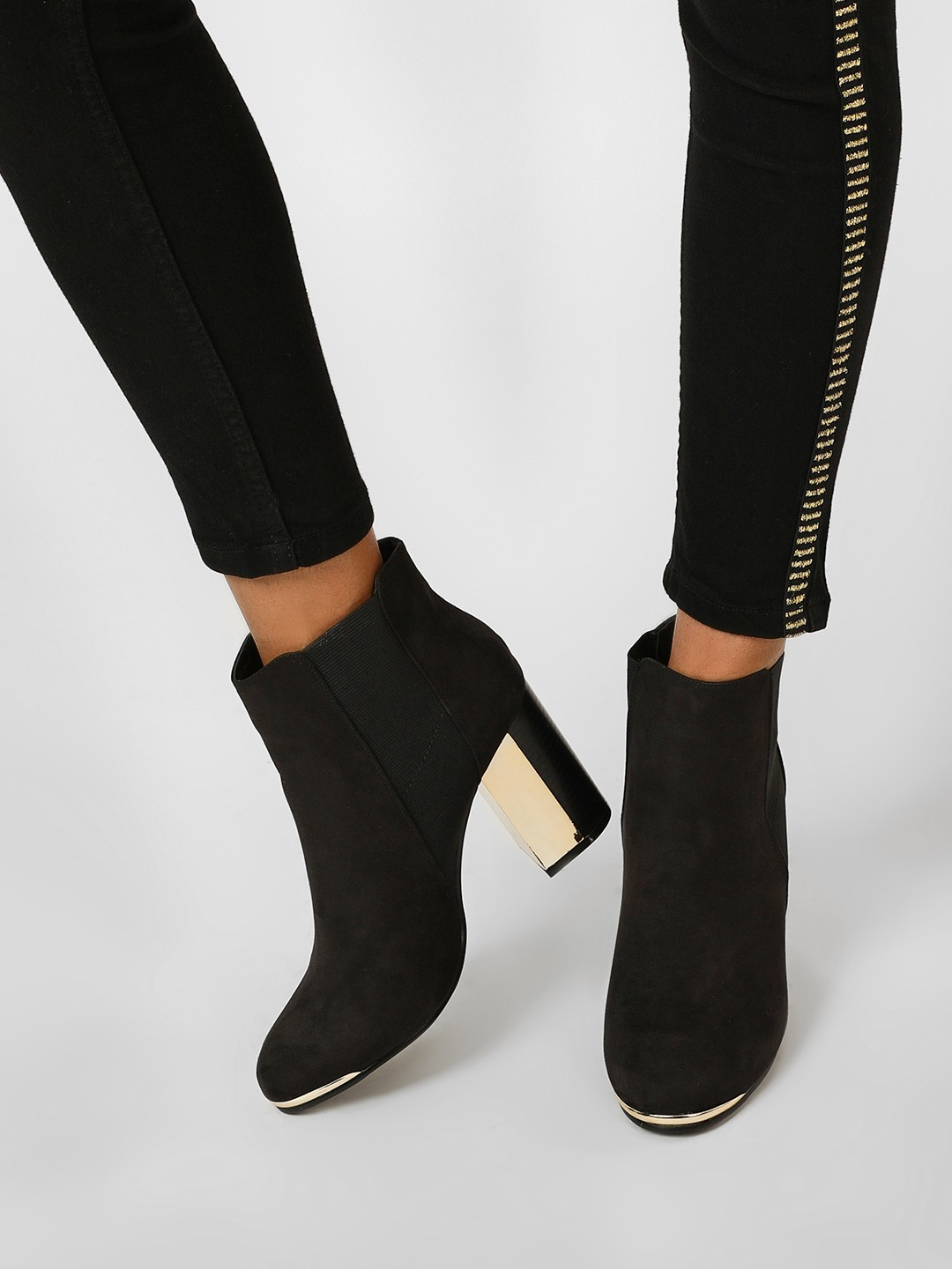 Truffle Collection Black Suede Gusset Ankle Heel Boots 1