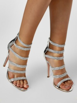 Truffle Collection Diamante Embellished Gladiator Heeled Sandals