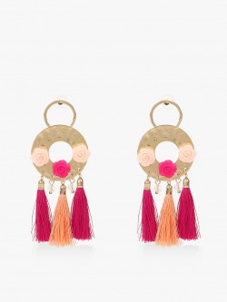 Blueberry Flower Motif Tassel Drop Earrings
