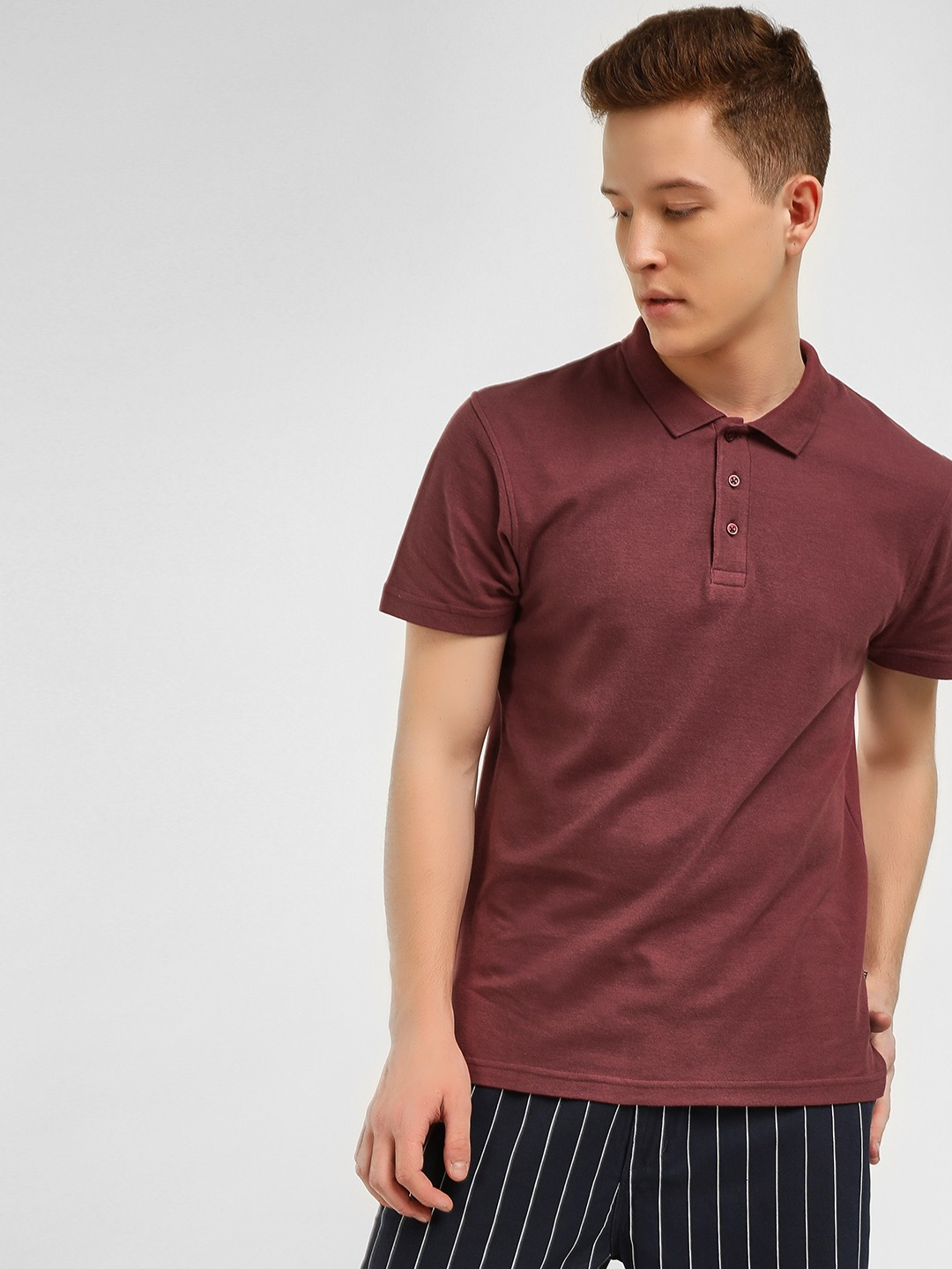 KOOVS Maroon Slim Fit Pique Polo Shirt 1