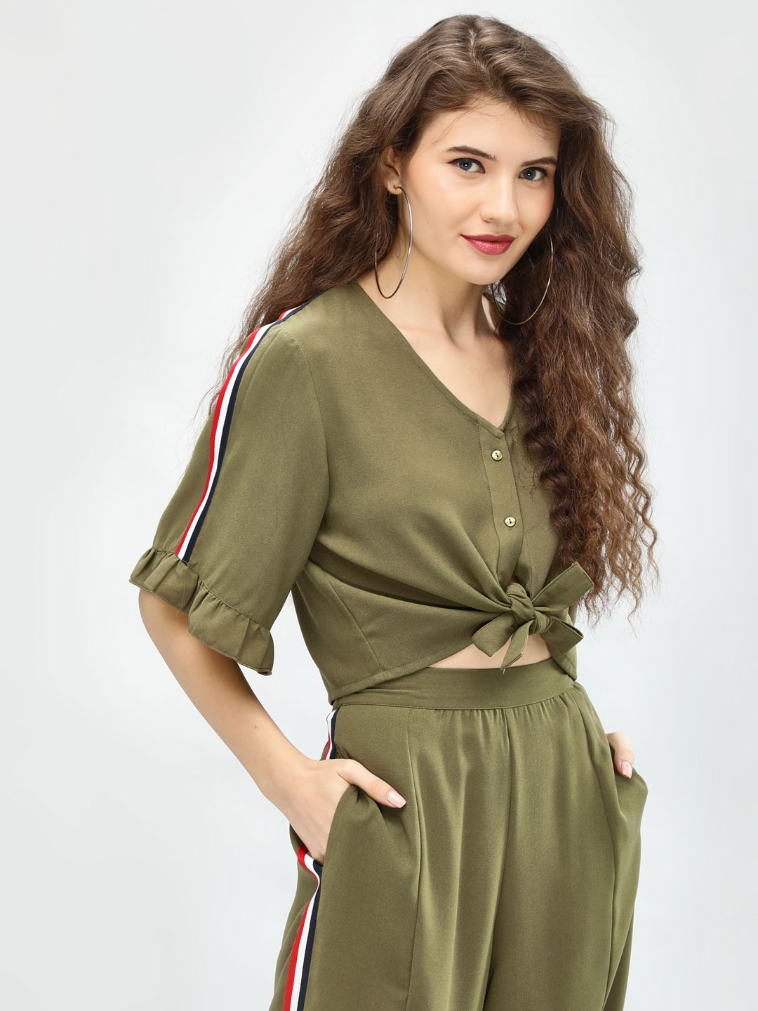 Ri-Dress Khakee Side Tape Front Knot Top 1