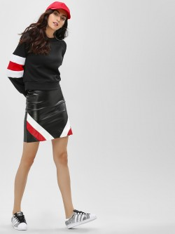 Lasula Stripe Panel Mini Skirt