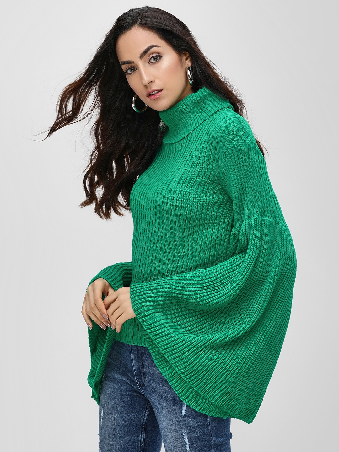 Lasula Green Wide Sleeve Roll Neck Jumper 1