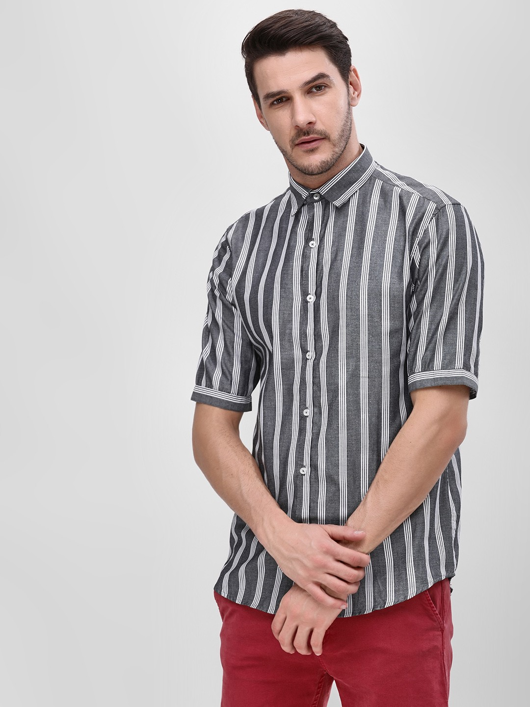 Mr Button Grey Vertical Striped Shirt 1