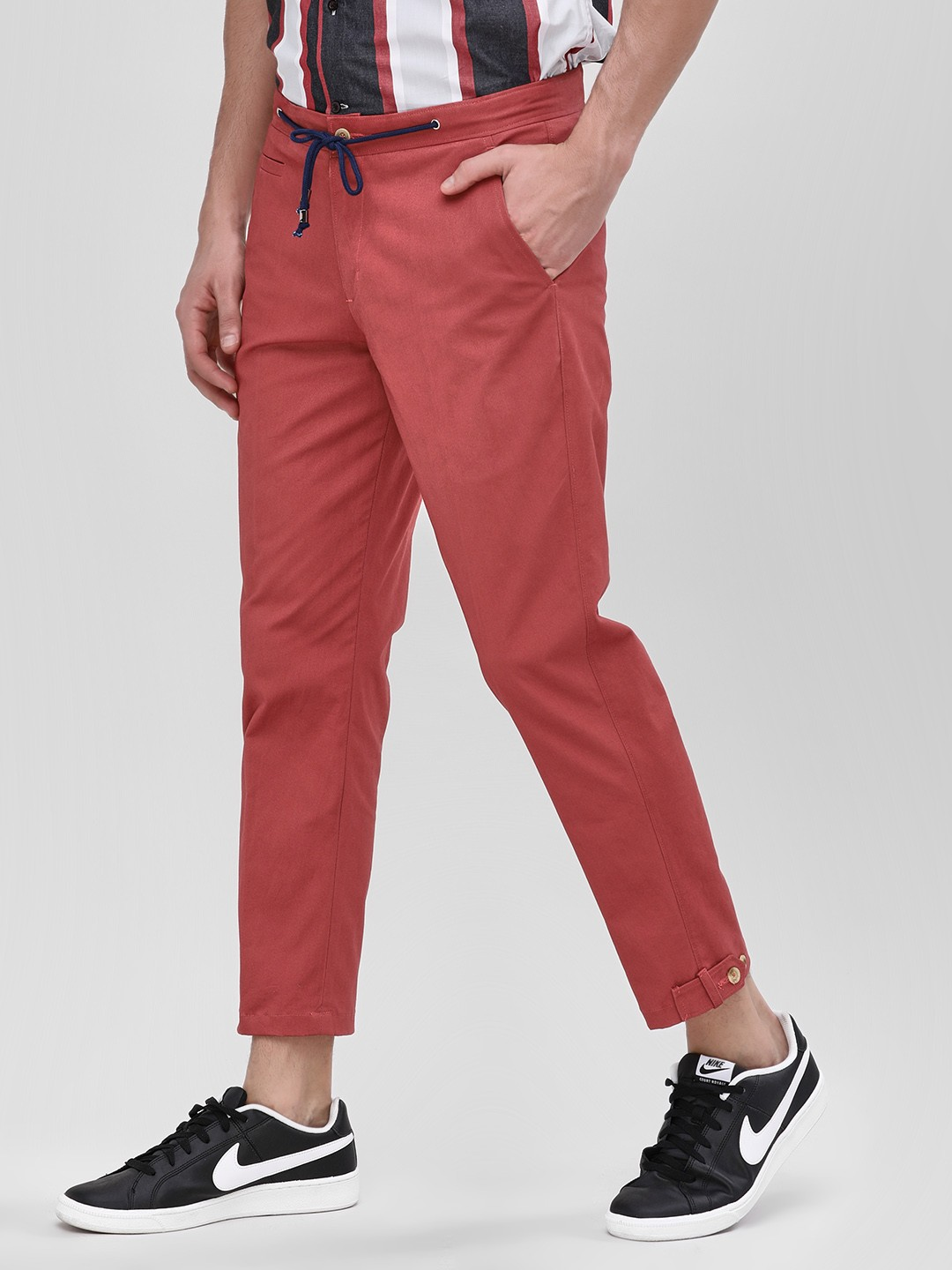 Mr Button Red Slim Trousers With Drawcord 1