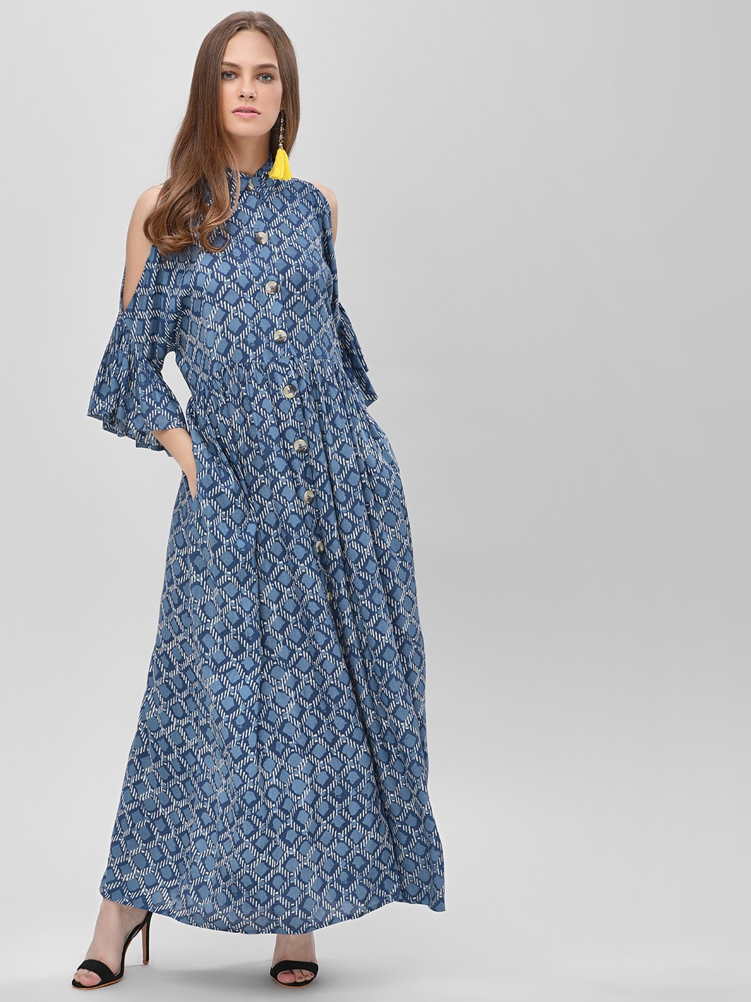 KOOVS Indigo Printed Cold Shoulder Maxi Dress 1
