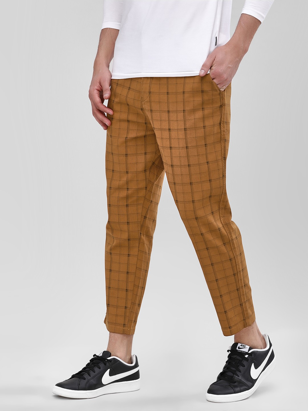 Spring Break Mustard Checkered Cropped Trousers 1