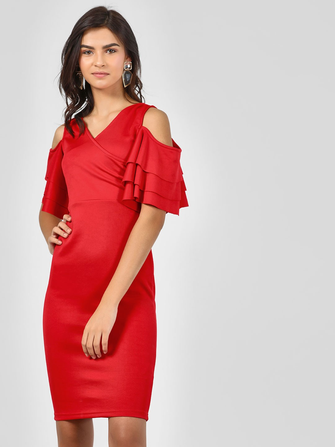 KOOVS Red Bodycon Dress With Ruffled Sleeves 1