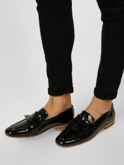 Griffin Patent Fringe Detail Loafers