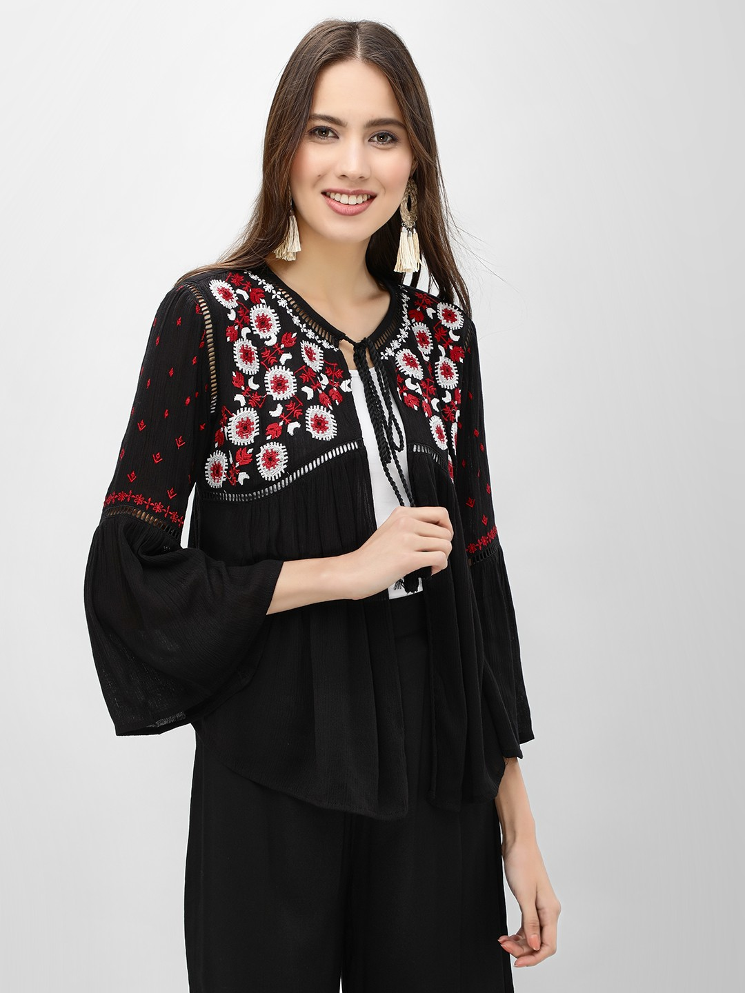 Kisscoast Black Embroidered Yoke Tie Knot Shrug 1